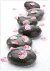 Wandbild Dunkle Steine mit Blütenblättern – Bild 1
