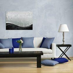 Wandbild Grau-schwarze Schnörkelei mit Wellen – Bild 2