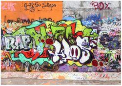 Wandbild RAP-Graffiti- Wand mit verschiedenen Tags – Bild 1