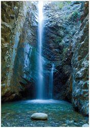 Wandbild Wasserfall bei Sonneneinfall – Bild 1