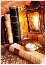 Wandbild Antike Laterne mit Kerze  alten Büchern und Taschenuhr – Bild 1