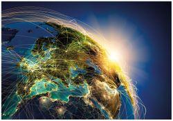 Wandbild Erde im Weltall im Sonnenschein – Bild 1