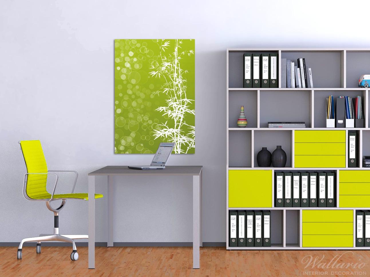 Wandbild Bambusmuster grün-weiß – Bild 2