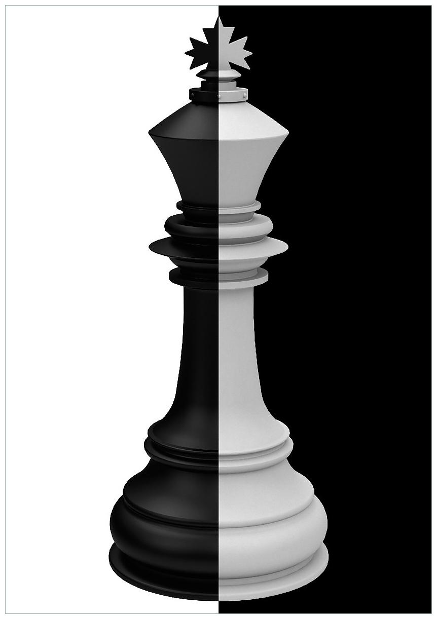 Wandbild Schachfigur schwarz-weiß – Bild 1