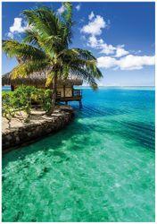 Wandbild Karibisches Meer – Einsame Hütte unter Palmen – Bild 1