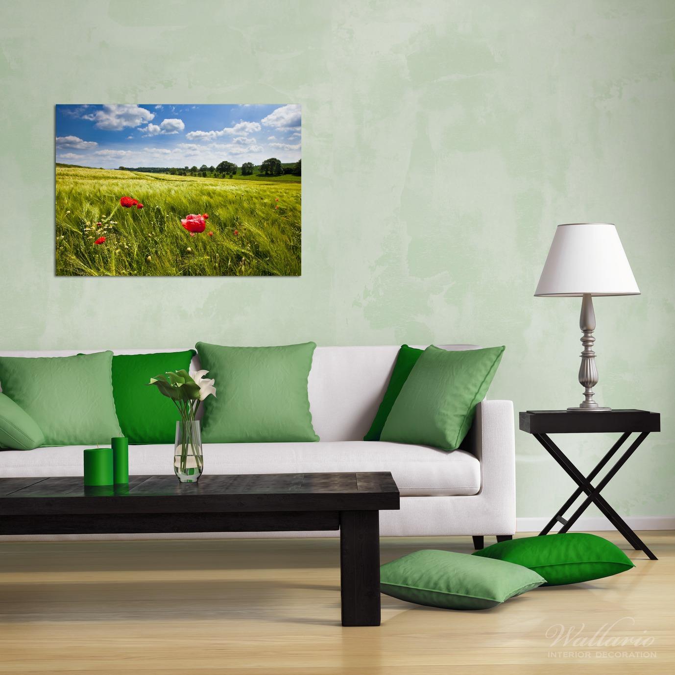 Wandbild Mohnblumenwiese auf grüner Wiese unter blauem Himmel – Bild 2
