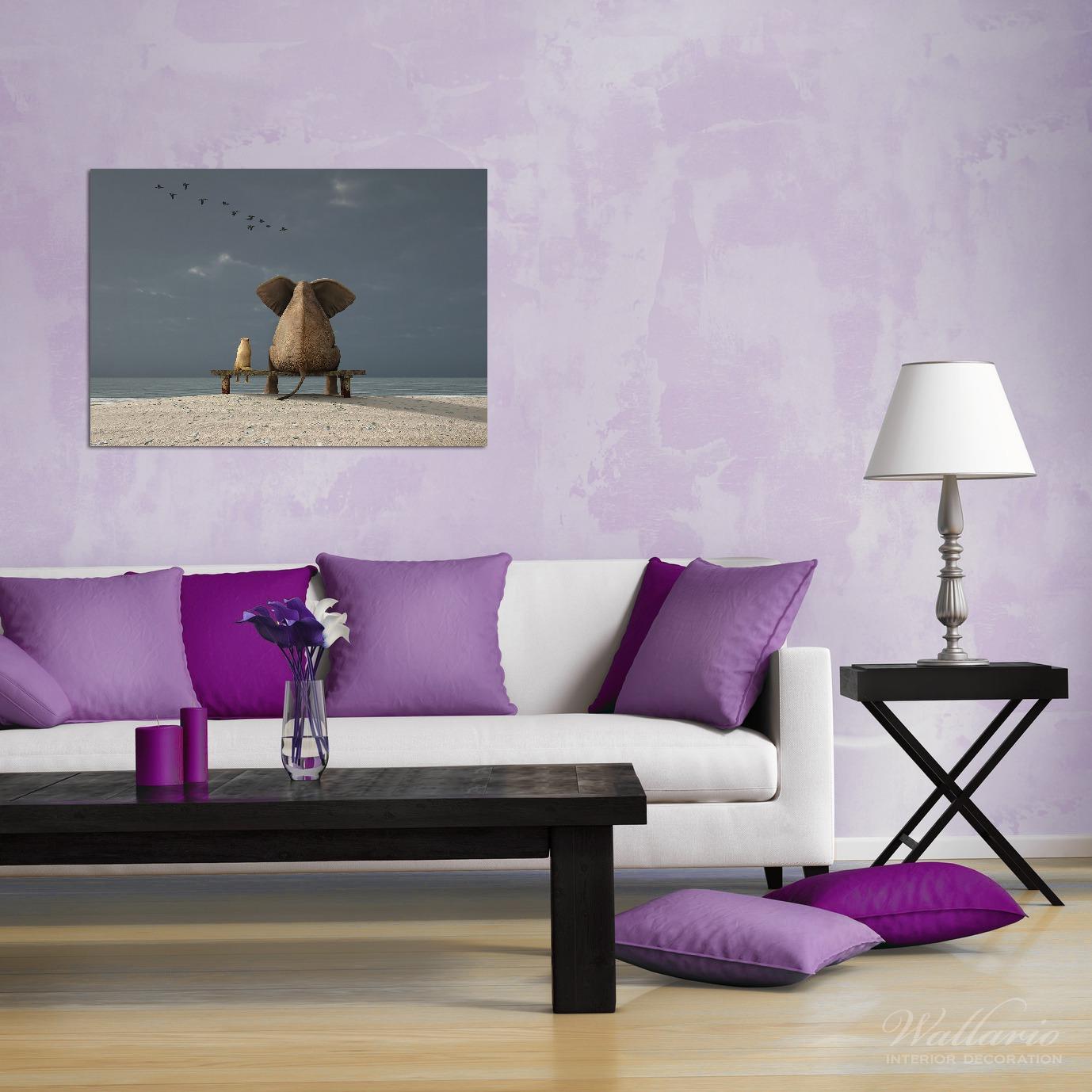 Wandbild Elefant und Hund sitzen auf einer Bank – Bild 2