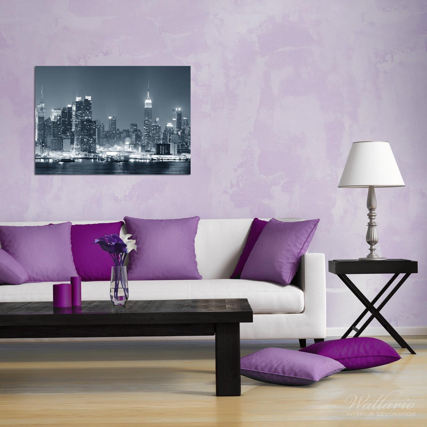 Wandbild New York Skyline - Schwarz Weiß Blau – Bild 2