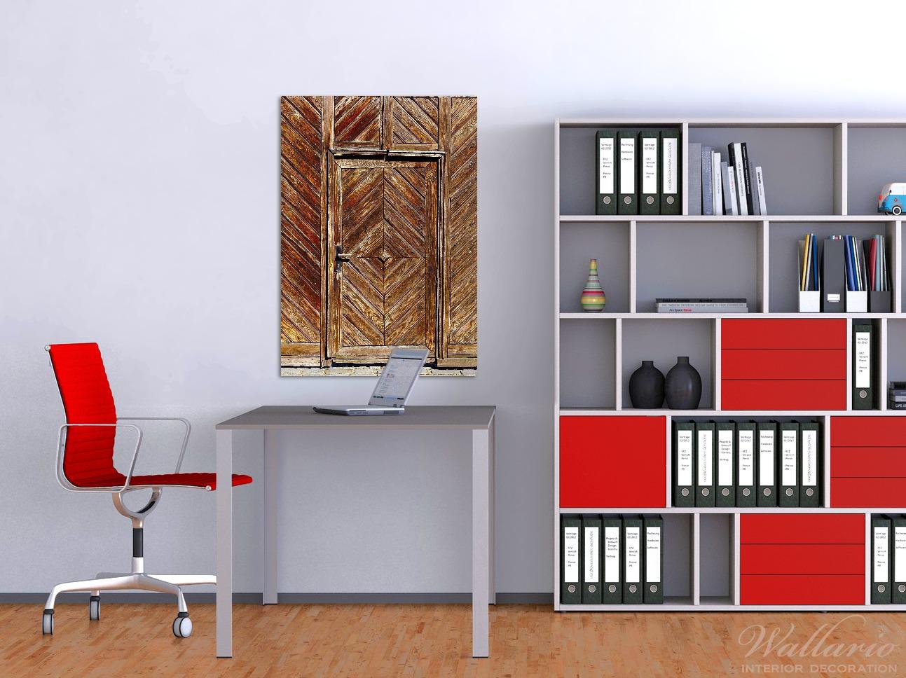 Wandbild Alte Holztür mit diagonalem Muster – Bild 2
