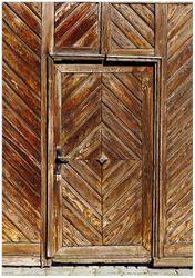 Wandbild Alte Holztür mit diagonalem Muster – Bild 1