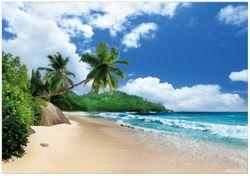 Wandbild Urlaub auf den Seychellen unter Palmen am Sandstrand – Bild 1