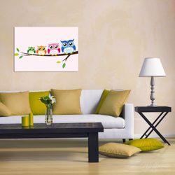 Wandbild Eulenfamilie auf einem Ast  Comic Stil – Bild 2
