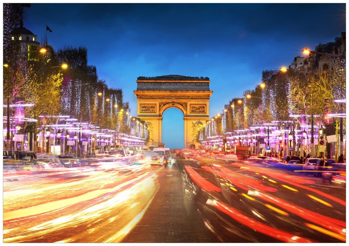 Wandbild Arc de triomphe in Paris bei Nacht – Bild 1