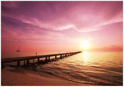 Wandbild Auf dem Weg zur Sonne  Steg am Meer – Bild 1