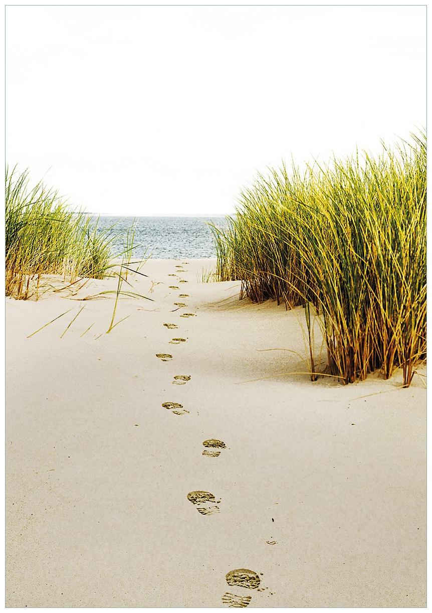 Wandbild Spuren im Sand- Fußspuren durch die Düne zum Meer – Bild 1