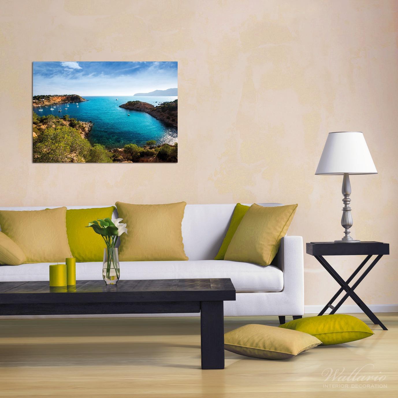Wandbild Ibiza - Blick von einer Bucht aufs Meer – Bild 2