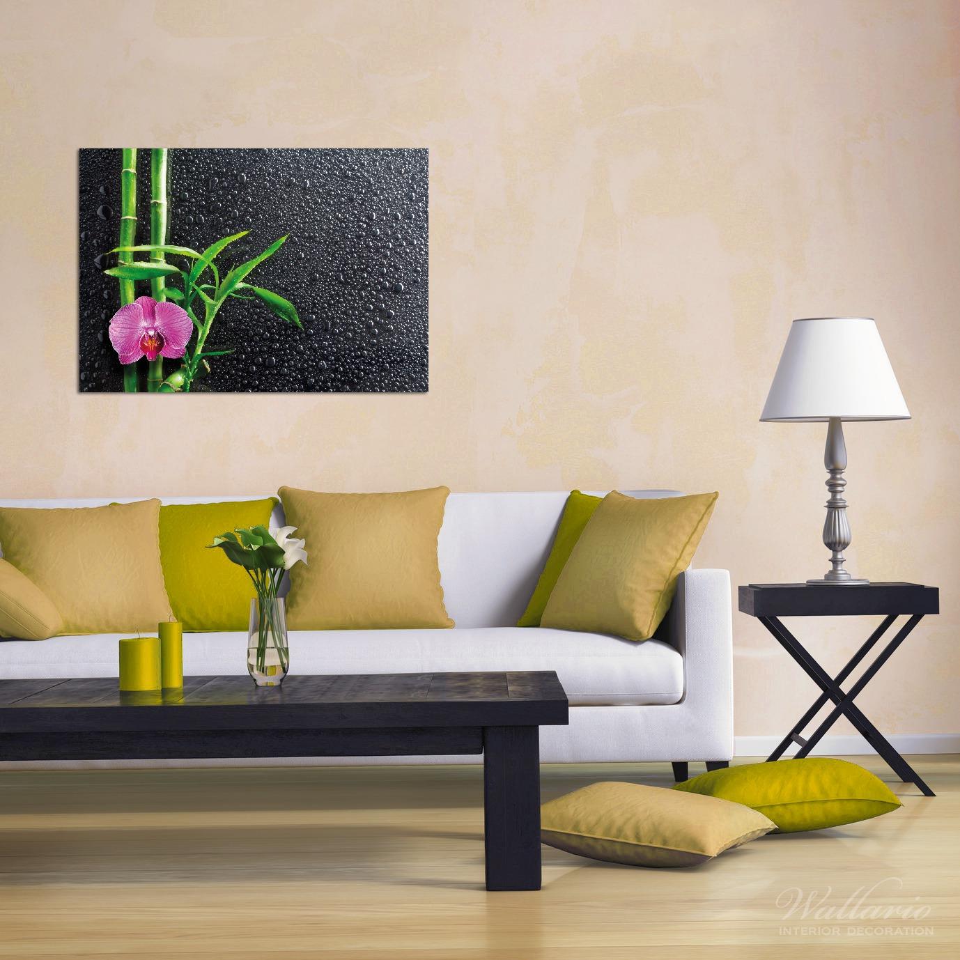 Wandbild Bambus und pinke Orchidee auf schwarzem Glas mit Regentropfen – Bild 2