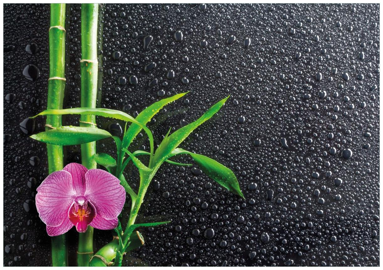Wandbild Bambus und pinke Orchidee auf schwarzem Glas mit Regentropfen – Bild 1