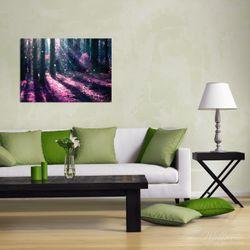 Wandbild Fantasie im Wald - Pinke Blumen in der Sonne – Bild 2