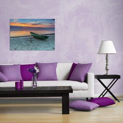 Wandbild Einsames Fischerboot mit Anker am Strand – Bild 2