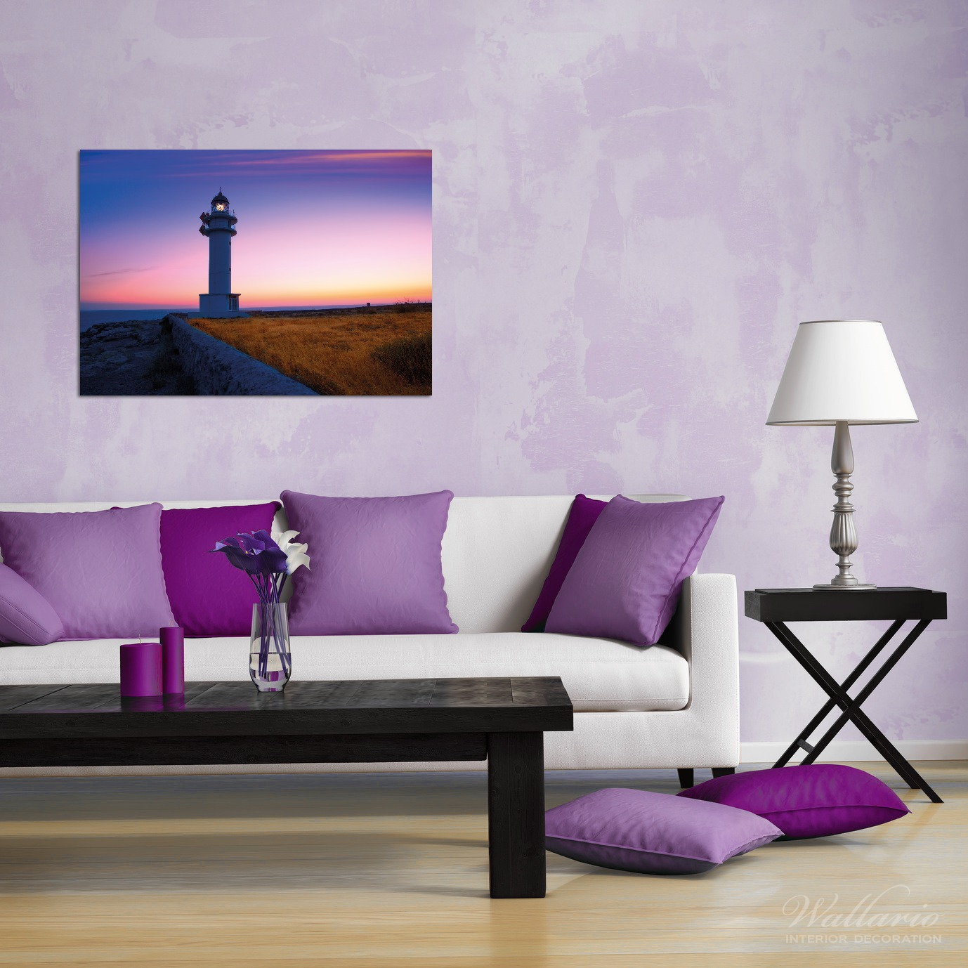 Wandbild Leuchtturm am Abend auf den Balearen – Malerischer Himmel – Bild 2