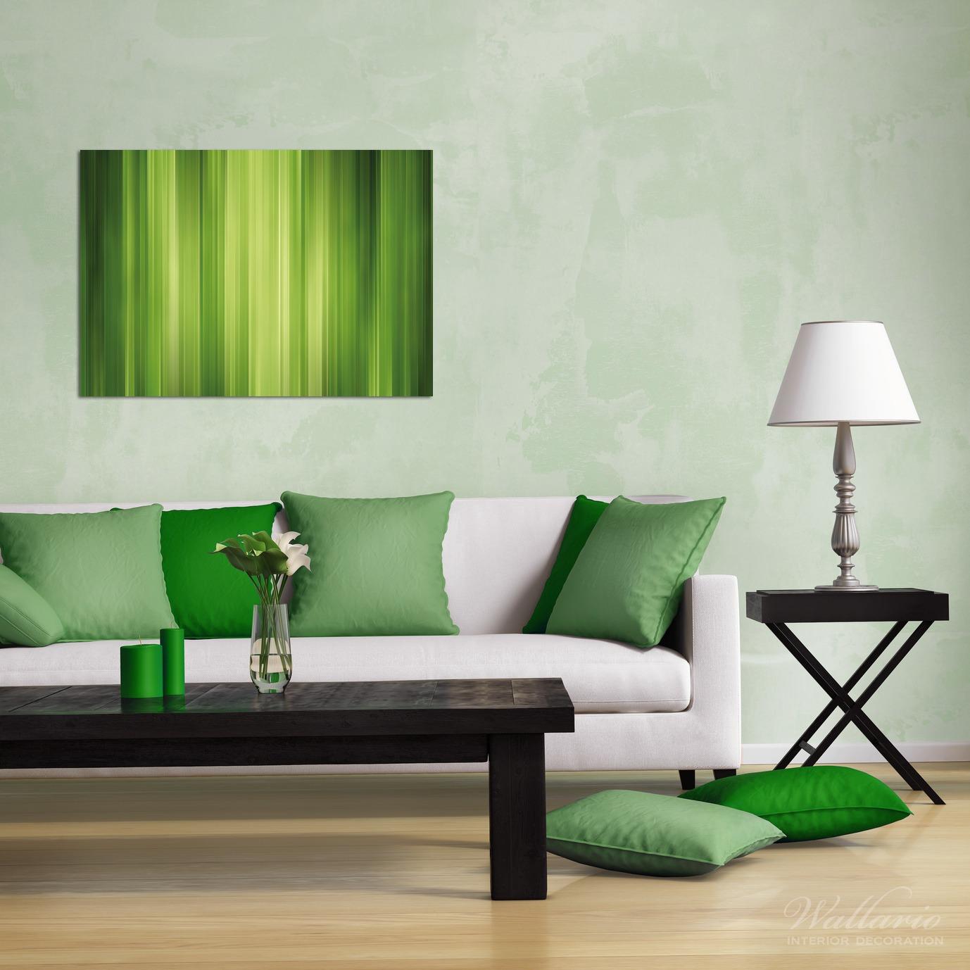 Wandbild Grün und schwarz gestreift - Abstraktes Streifenmuster – Bild 2