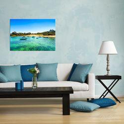 Wandbild Französische Bucht mit klarem Wasser und Booten – Bild 2
