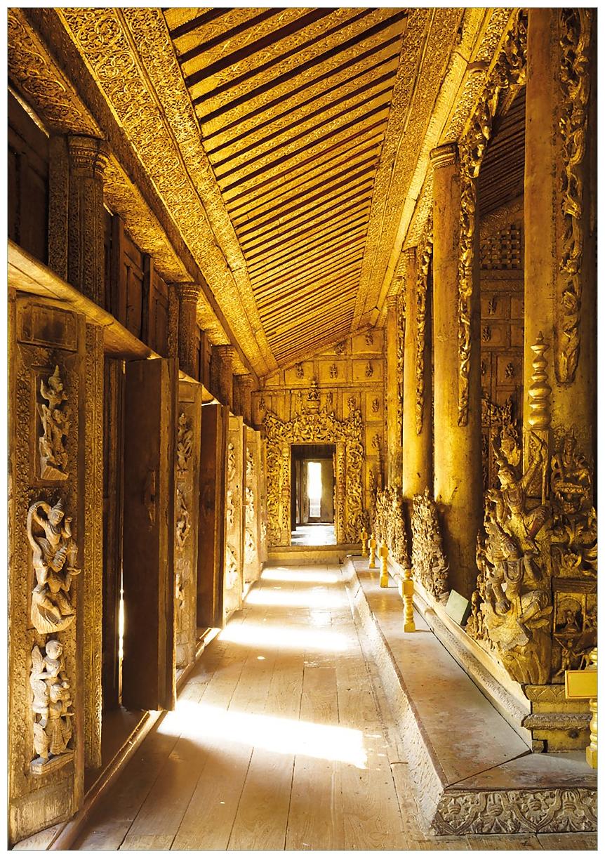 Wandbild Buddhistischer Tempel aus Holz - Mandaley – Bild 1