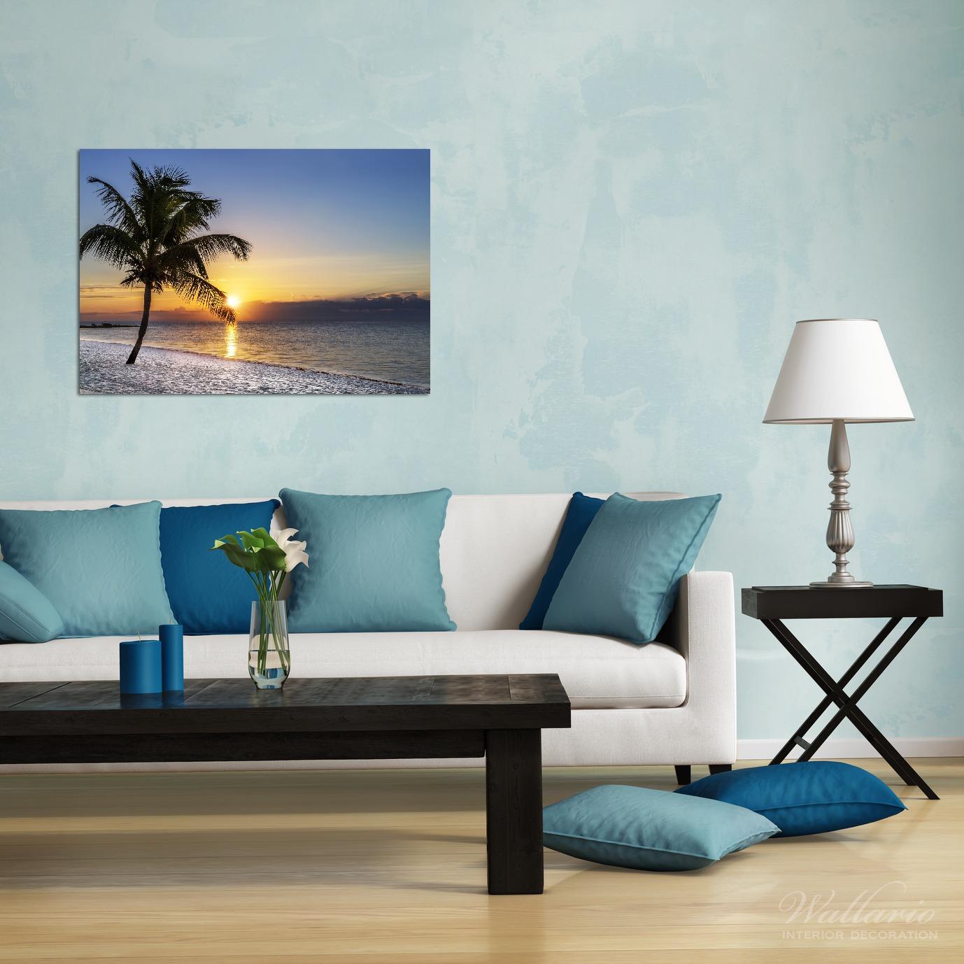 Wandbild Palme am Strand - Sonnenuntergang über dem Meer – Bild 2