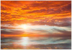Wandbild Abendrot in Reflexion über dem See – Bild 1