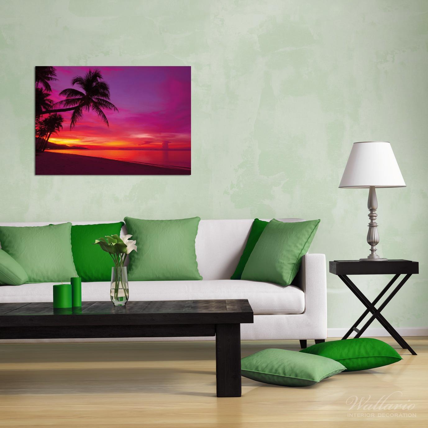 Wandbild Abendrot unter Palmen - pinker Himmel am Strand – Bild 2