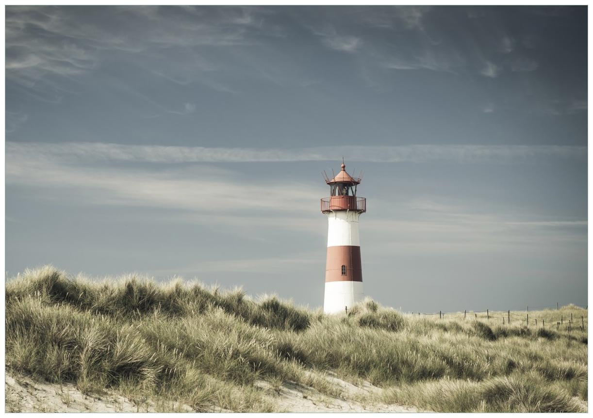 Wandbild Leuchtturm auf der Düne am Strand – Bild 1