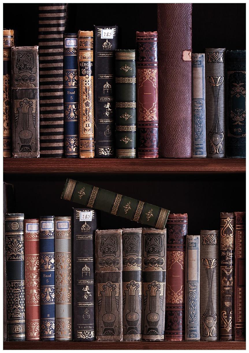 Wandbild Bücherregal mit alten Büchern – Bild 1