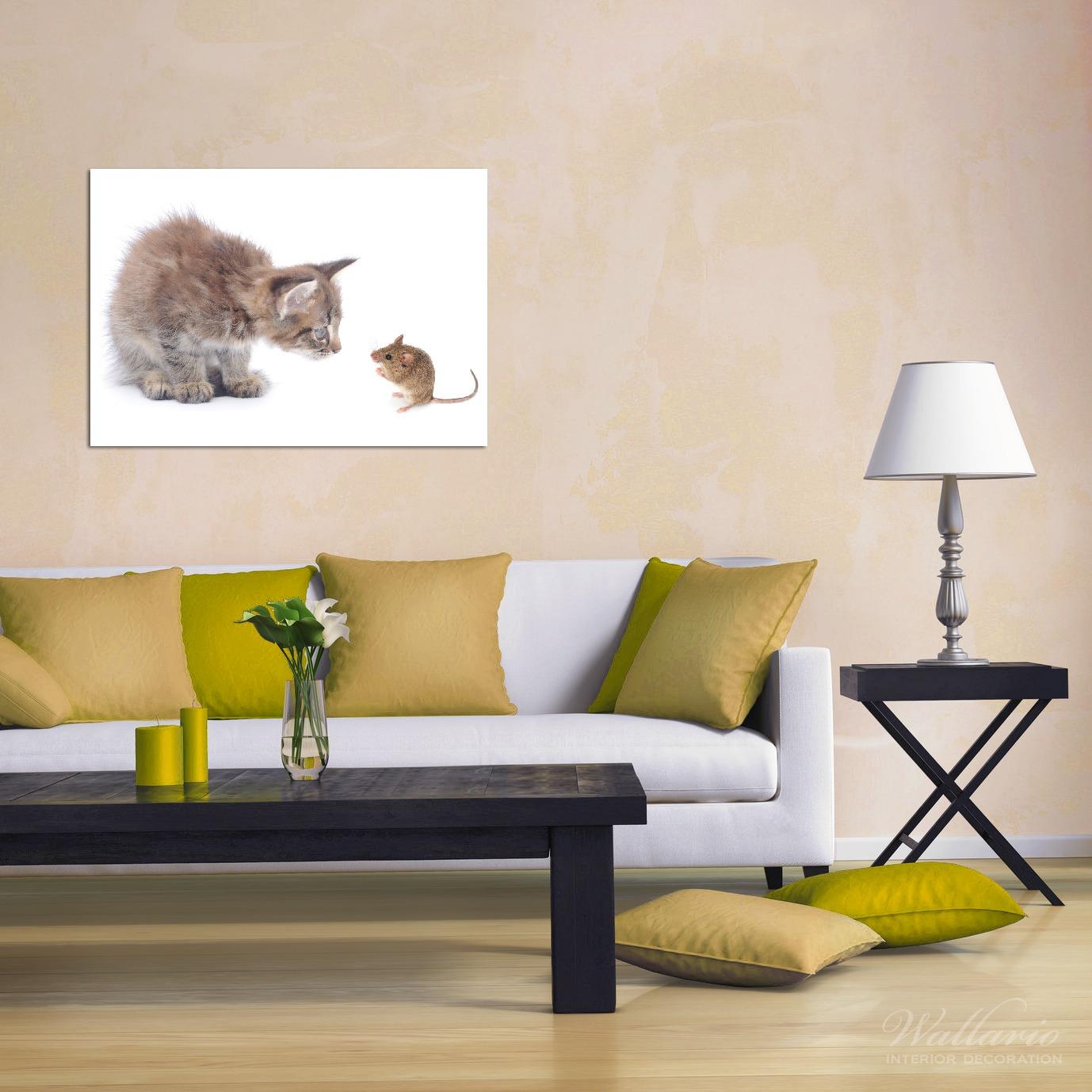Wandbild Katze und Maus beim Spielen - weißer Hintergrund – Bild 2