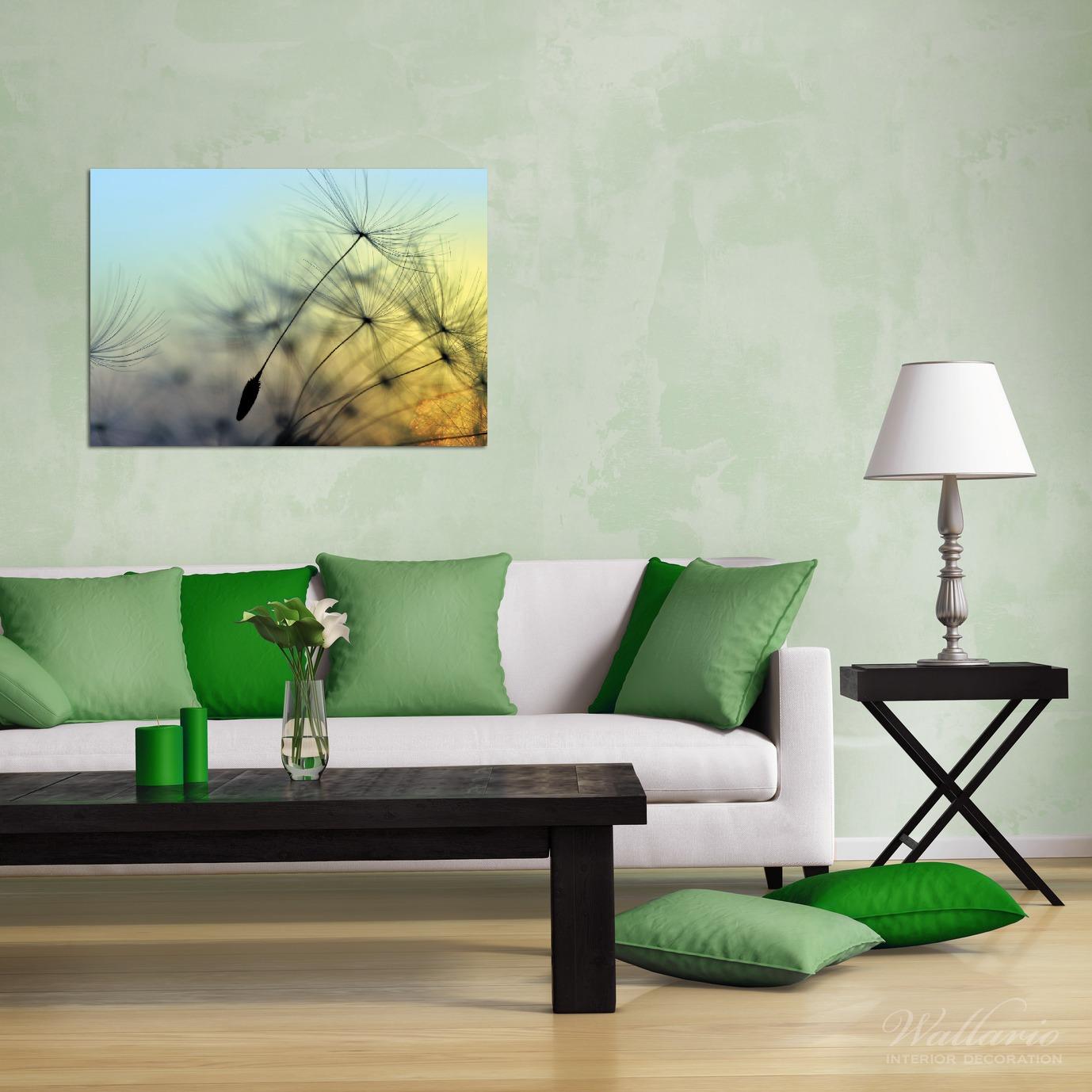Wandbild Samen der Pusteblume in Nahaufnahme vor blauem Himmel – Bild 2