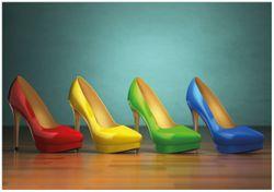 Wandbild Bunte Schuhe - High Heels für Frauen – Bild 1