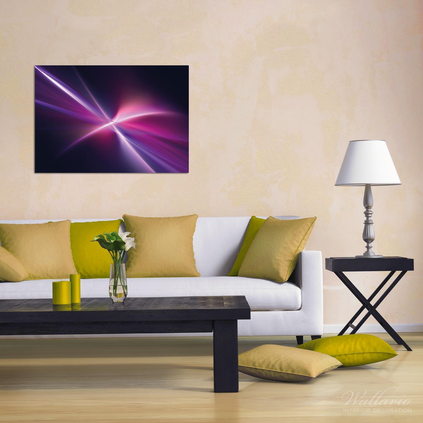 Wandbild Abstrakte Formen und Linien  schwarz lila pink weiß – Bild 2