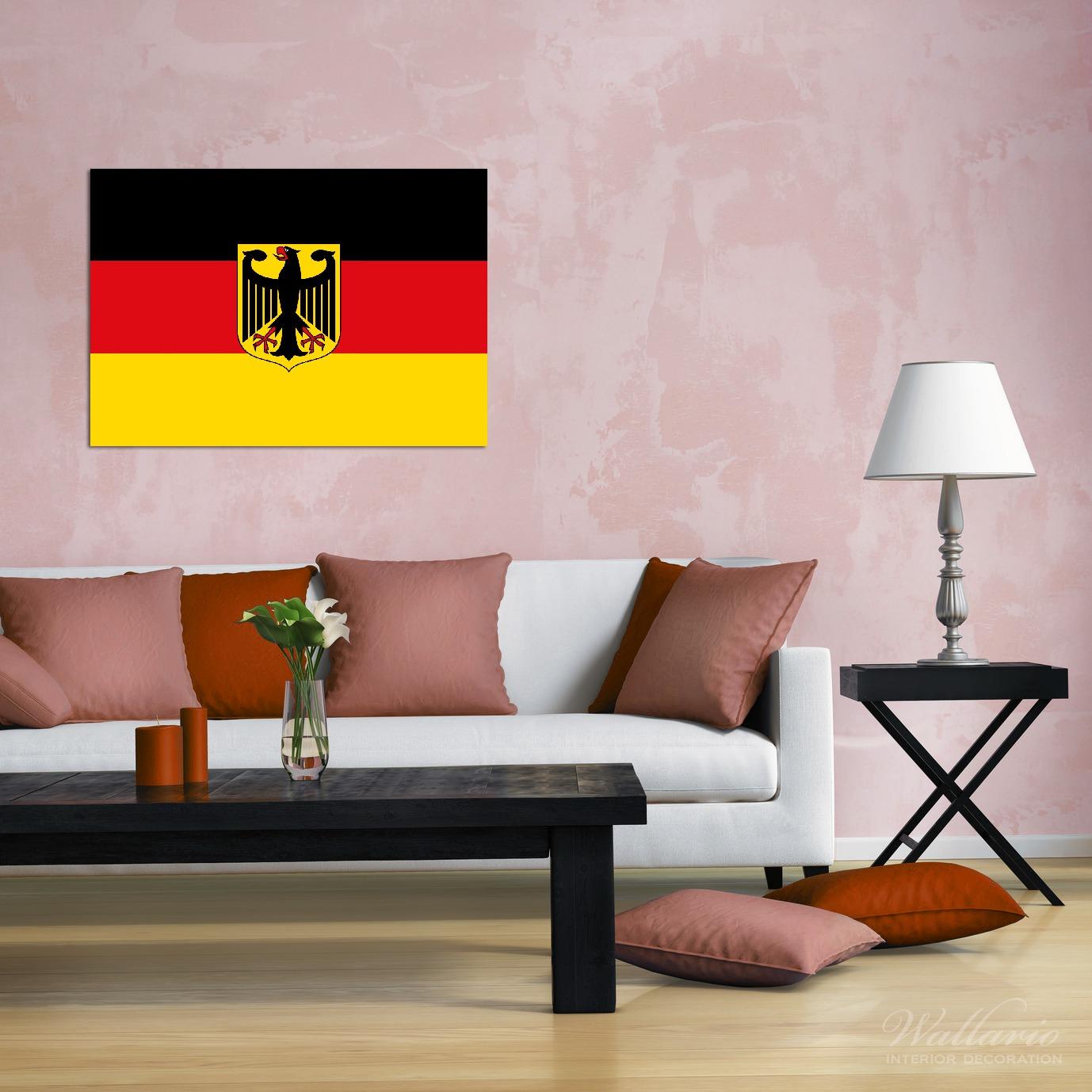 Wandbild Deutsche Flagge mit Wappen – Bild 2