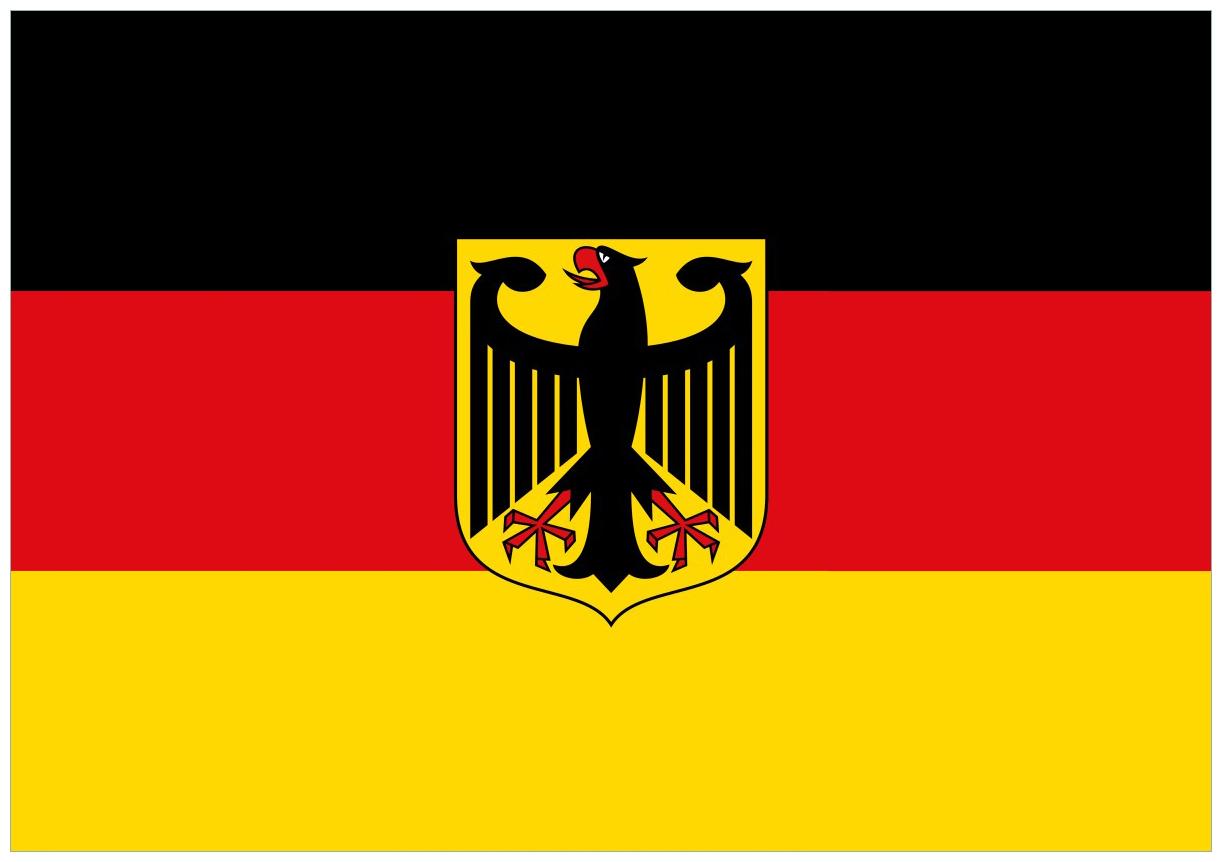 Wandbild Deutsche Flagge mit Wappen – Bild 1