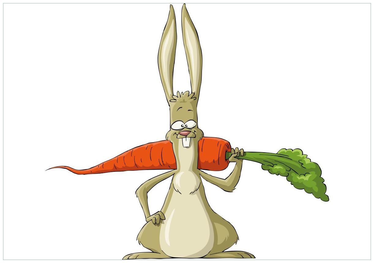 Wandbild Lustiger Hase mit Möhre im Comic Stil – Bild 1