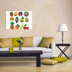 Wandbild Obst-Smilies im Comic-Stil - Lustige Erdbeeren, Bananen, Kirschen etc. – Bild 2
