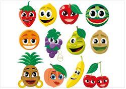 Wandbild Obst-Smilies im Comic-Stil - Lustige Erdbeeren, Bananen, Kirschen etc. – Bild 1