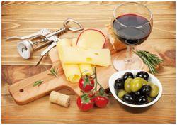 Wandbild Genuss am Abend - Rotwein, Käseplatte, Oliven und Tomaten – Bild 1
