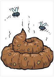 Wandbild Comic Scheißhaufen mit Fliegen – Bild 1