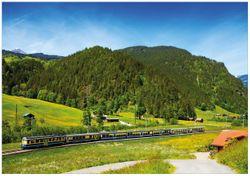 Wandbild Eisenbahn in einer Sommerlandschaft in der Schweiz – Bild 1