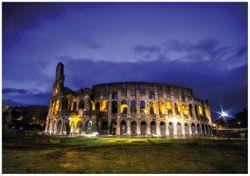 Wandbild Italien bei Nacht - Kollosseum in Rom, beleuchtet am Abend – Bild 1