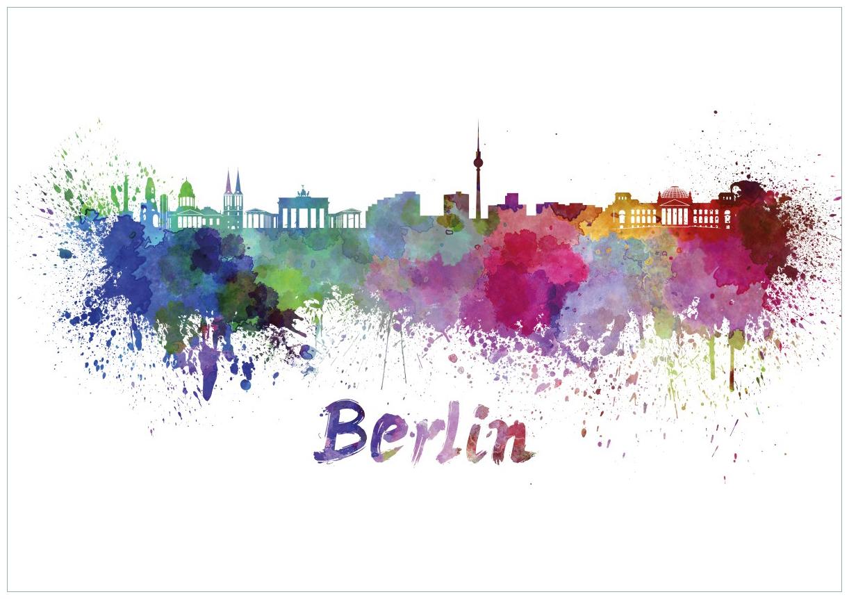 Wandbild Städte als Aquarell - Skyline von Berlin – Bild 1