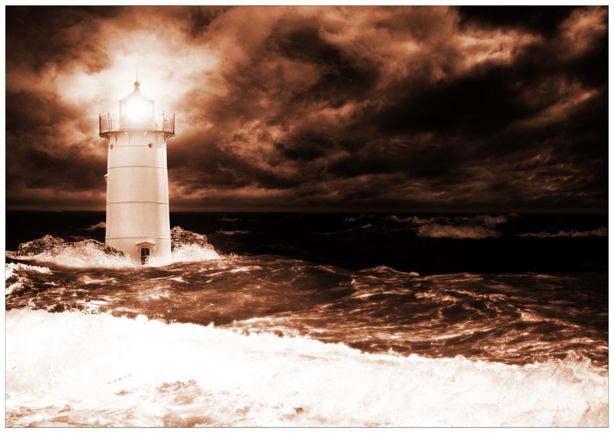 Wandbild Abstrakter Leuchtturm im Wasser bei stürmischer See – Bild 1