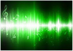 Wandbild Grüne Noten der Musik – Bild 1