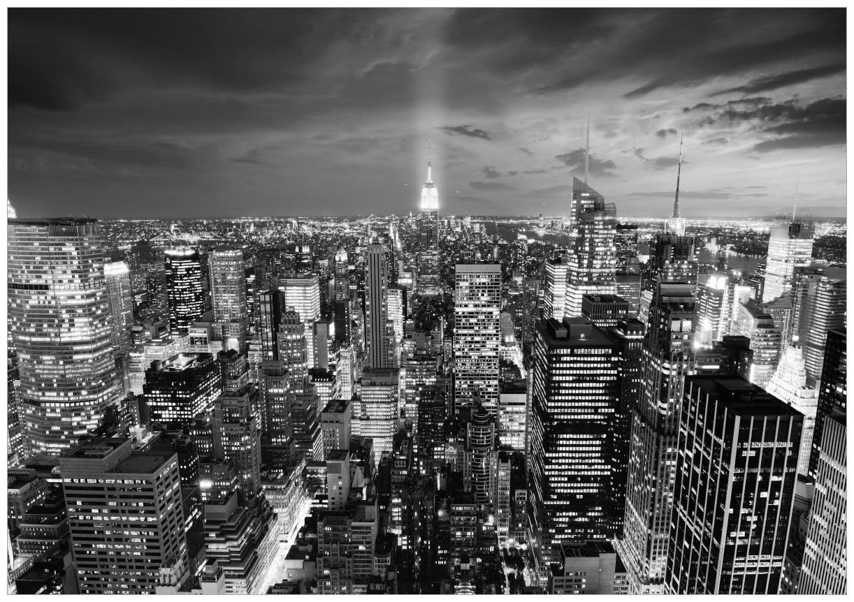 Wandbild New York bei Nacht - Panoramablick über die Stadt - schwarzweiß – Bild 1
